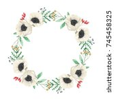 christmas watercolor wreath... | Shutterstock . vector #745458325