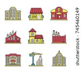 city buildings color icons set. ... | Shutterstock . vector #745460149