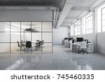 white brick open space office... | Shutterstock . vector #745460335