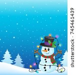snowman with christmas lights... | Shutterstock .eps vector #745461439