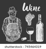 set of wine bottle and...   Shutterstock .eps vector #745464319