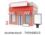 store with copy space board... | Shutterstock . vector #745468015