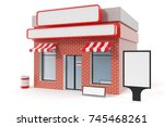 store with copy space board... | Shutterstock . vector #745468261