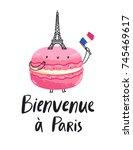 welcome to paris macaron...   Shutterstock .eps vector #745469617