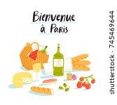 welcome to paris  picnic vector ... | Shutterstock .eps vector #745469644