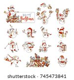 vector set of cute cartoon... | Shutterstock .eps vector #745473841