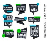 cyber monday sale banner set.... | Shutterstock . vector #745479529