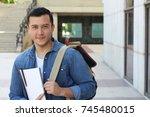 trendy ethnic student heading... | Shutterstock . vector #745480015
