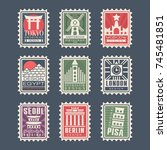 collection of postage stamps ... | Shutterstock .eps vector #745481851