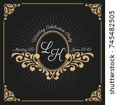 vintage luxury monogram logo... | Shutterstock .eps vector #745482505