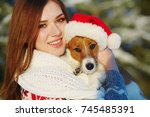 jack russell terrier dog in red ... | Shutterstock . vector #745485391