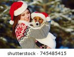 jack russell terrier dog in red ... | Shutterstock . vector #745485415