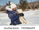dog breed samoyed husky with... | Shutterstock . vector #745486699