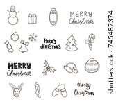 christmas new year symbols ... | Shutterstock .eps vector #745487374