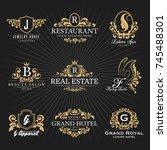 vintage royal heraldic monogram ... | Shutterstock .eps vector #745488301
