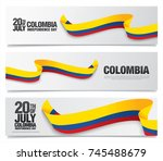 flag of colombia  vector... | Shutterstock .eps vector #745488679