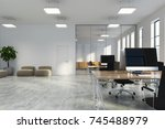 open space office with white... | Shutterstock . vector #745488979