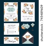 vector set of invitation cards... | Shutterstock .eps vector #745489609
