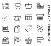 thin line icon set   shop  cart ... | Shutterstock .eps vector #745490695