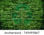 recycle sign bricks wall... | Shutterstock . vector #745495867