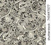 cartoon cute doodles hand drawn ... | Shutterstock .eps vector #745497577