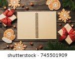 cozy winter holidays christmas... | Shutterstock . vector #745501909