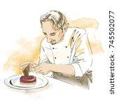 pastry chef cooking desert.... | Shutterstock .eps vector #745502077