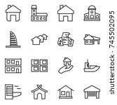 thin line icon set   home ... | Shutterstock .eps vector #745502095