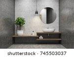 concrete bathroom interior with ... | Shutterstock . vector #745503037