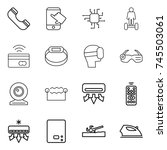 thin line icon set   phone ... | Shutterstock .eps vector #745503061