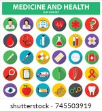 medicine and health flat icon... | Shutterstock .eps vector #745503919