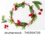 frame with christmas wreath ... | Shutterstock . vector #745504735