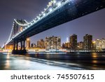 manhattan bridge at night with... | Shutterstock . vector #745507615