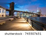 brooklyn bridge at night with... | Shutterstock . vector #745507651