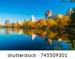 central park lake with autumn... | Shutterstock . vector #745509301