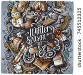 cartoon vector doodles winter... | Shutterstock .eps vector #745512325