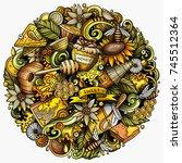 cartoon vector doodles honey... | Shutterstock .eps vector #745512364