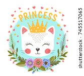 little princess with flowers.... | Shutterstock .eps vector #745517065
