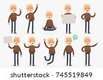 set of male character in casual ... | Shutterstock .eps vector #745519849