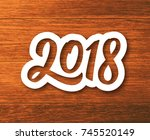 happy new year 2018 paper label ... | Shutterstock .eps vector #745520149