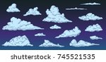 cartoon clouds on night sky in... | Shutterstock .eps vector #745521535