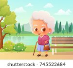 cute old woman walking with... | Shutterstock .eps vector #745522684