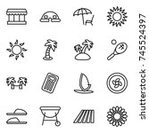 thin line icon set   market ... | Shutterstock .eps vector #745524397