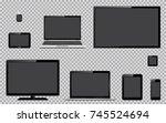 set of realistic tv  computer... | Shutterstock .eps vector #745524694