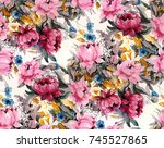 Stock photo watercolor flower pattern 745527865