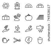 thin line icon set   atom ... | Shutterstock .eps vector #745528117