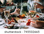 party dinner table  celebrating ...   Shutterstock . vector #745532665