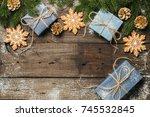 cozy winter holidays christmas... | Shutterstock . vector #745532845