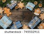 cozy winter holidays christmas... | Shutterstock . vector #745532911