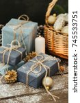 festive gifts with boxes ... | Shutterstock . vector #745533751